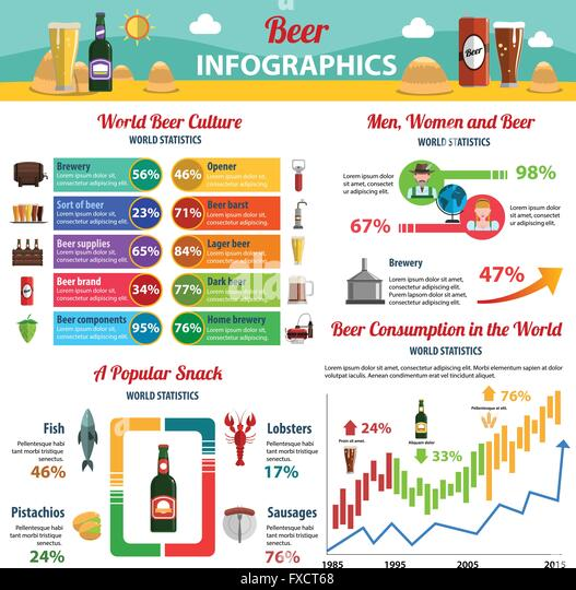 Beer Infographics Set - Stock Image