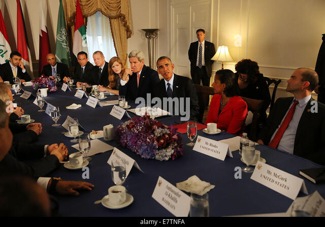 New York, USA. 23rd September, 2014. U.S. President Barack Obama and senior advisers meet with representatives from - Stock Image