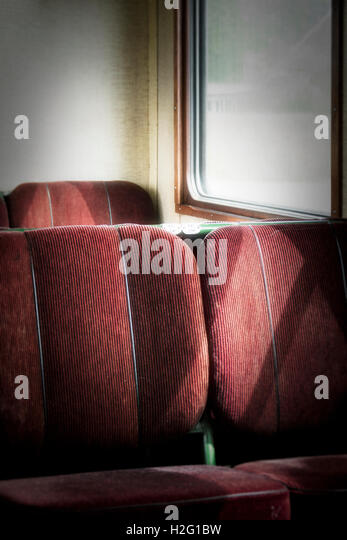 Empty seats in old retro railway carriage. Vintage transportation. - Stock-Bilder