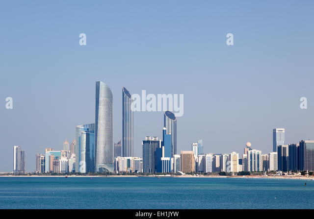 Skyline of Abu Dhabi, United Arab Emirates - Stock Image