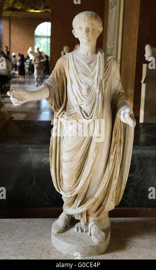 Nero (37 AD-68 AD). Roman Emperor from 54-68. Statue of infant Nero in toga, with bulla, holding a scroll. Ca. 50 - Stock Image