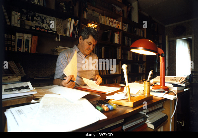 Rector of the Moscow State Historical and Archival Institute Yury Afanasyev in his study at home - Stock Image
