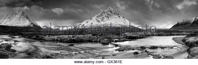 A black and white shot of The Buachaille Etive Mor (Great Herdsman of Etive) and River Etive mountain panorama. - Stock Image