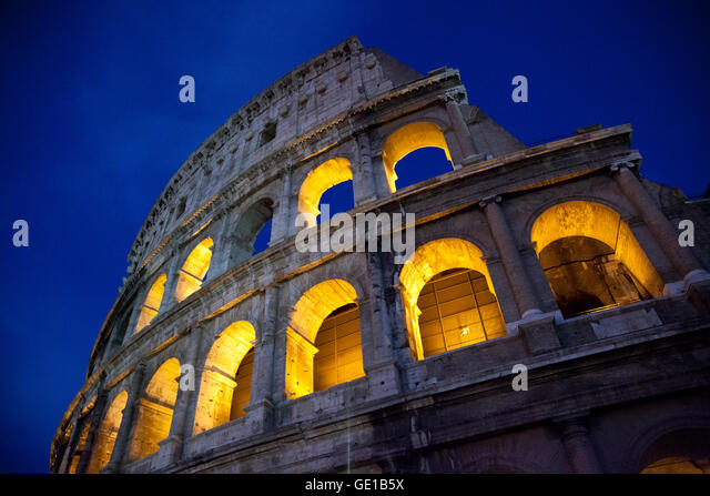 The Roman Colosseum at dusk, Rome, Italy. - Stock Image