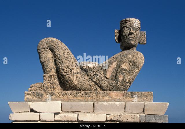 mexico yucatan quintana roo chac mool statue nobody iconic yucatan image famous maya symbol - Stock Image