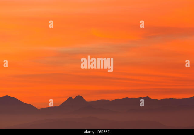 Pedraforca mountain at sunset. Barcelona. Cataluña. Spain. Europe - Stock Image