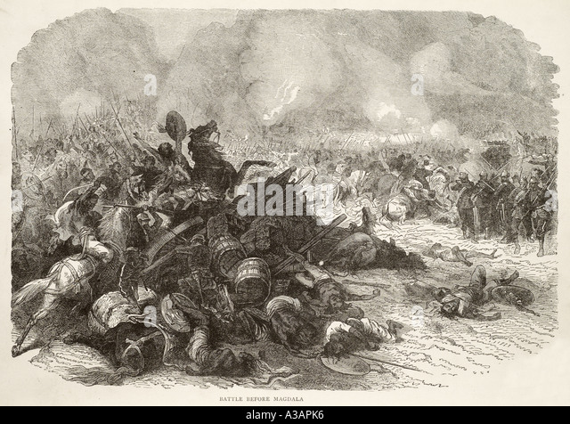Magdala military history battle fight Africa 1868 British defeat carnage death destruction - Stock Image
