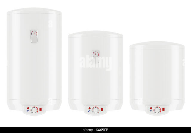 set of white electric water heaters or boilers, 3D rendering isolated on white background - Stock Image