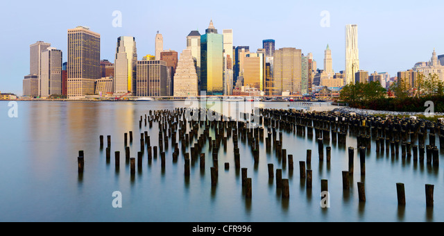 Morning view of the skyscrapers of Manhattan, New York, United States of America, North America - Stock-Bilder