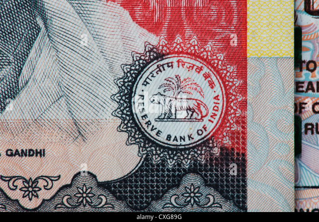 Reserve bank of india seal on an Indian thousand rupee notes - Stock Image