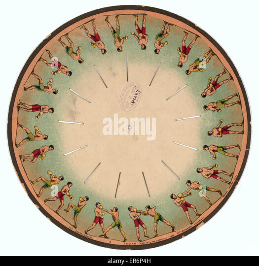 The zoopraxiscope - Athletes - Boxing. Images on a disc which when spun gives the illusion of two men boxing. Date - Stock Image