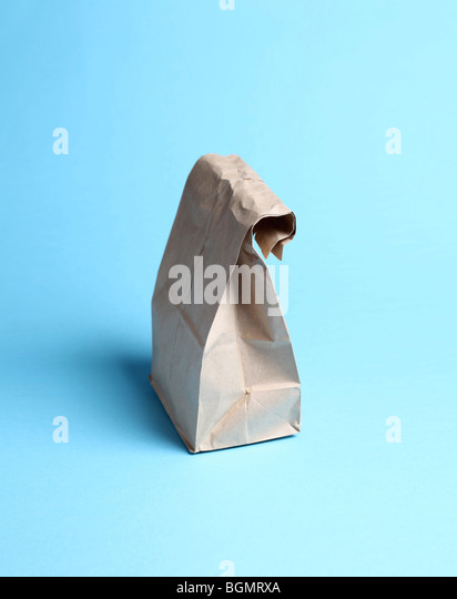 brown paper bag sack lunch - Stock Image
