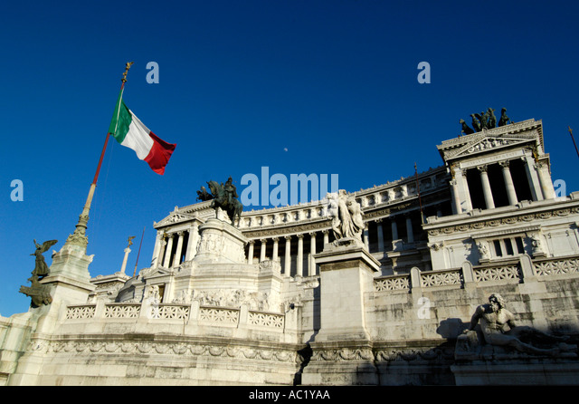The Vittorio Emanuele Monument Rome Italy - Stock Image