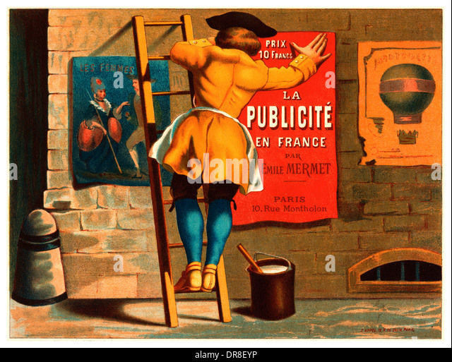 1900's French illustration promoting advertising services - Stock Image