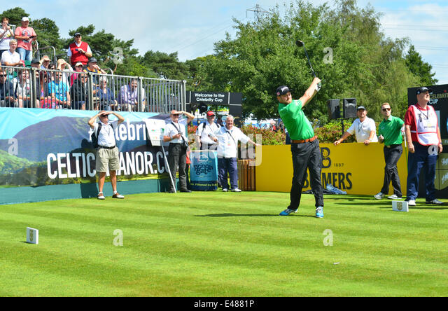 Golf. The Celebrity Cup.Celtic Manor Wales Resort. Brian Mc Fadden seen teeing off. Robert Timoney/AlamyLivenews. - Stock Image