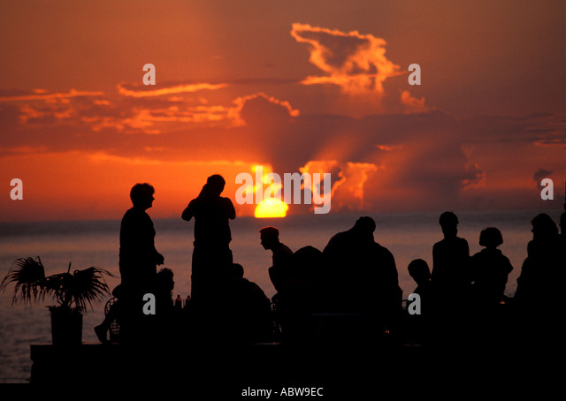JAMAICA Negril Sunset at Rick's Cafe - Stock Image