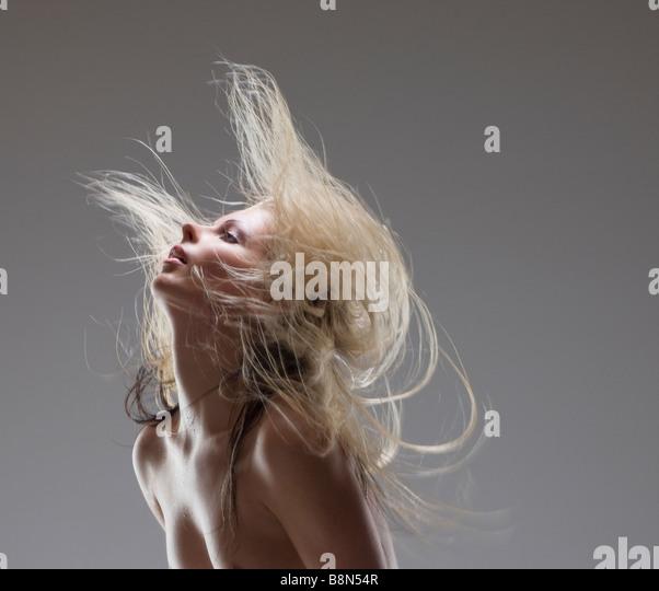 Hair,care,dandruff,shampoo,soap,cosmetic,clean,face,head,female - Stock Image