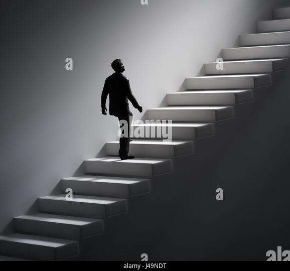 Man walking up the stairs towards light - 3d illustration - Stock-Bilder