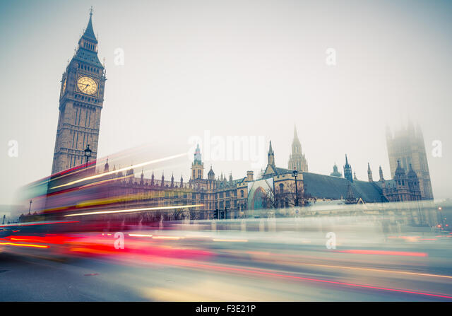 Big Ben and double-decker bus, London - Stock Image