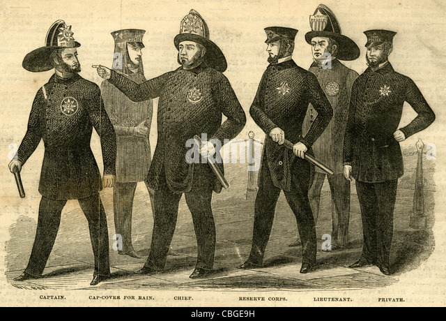 1854 engraving, 'New Regulation Uniforms of the New York Police.' - Stock Image