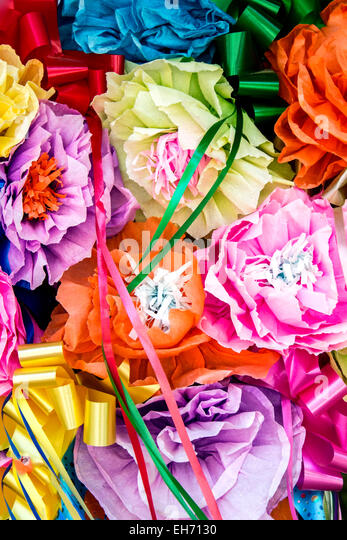 Decorative paper flowers, La Villita, San Antonio, Texas USA - Stock Image