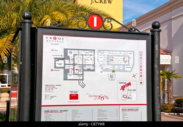 Store directory Premium Outlet shopping mall on International Drive, Orlando Florida - Stock Image