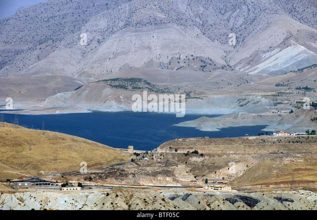 Northern Iraq landscape on road between Erbil and Sulaimaniya in Kurdistan Region - Stock Image