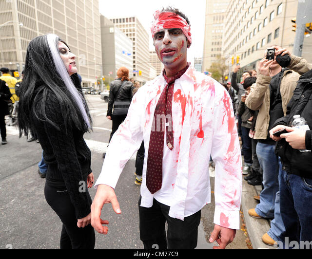 October 20, 2012. Toronto, Canada. Zombies take over the streets of downtown Toronto in the annual Toronto Zombie - Stock Image