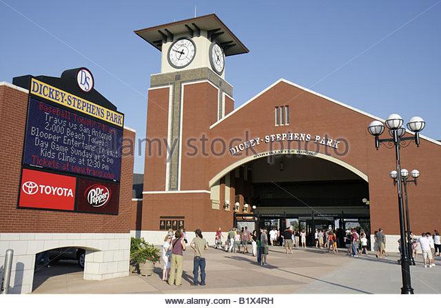 Arkansas North Little Rock Dickey Stephens Park minor league baseball Arkansas Travelers corporate sponsors stadium - Stock Image