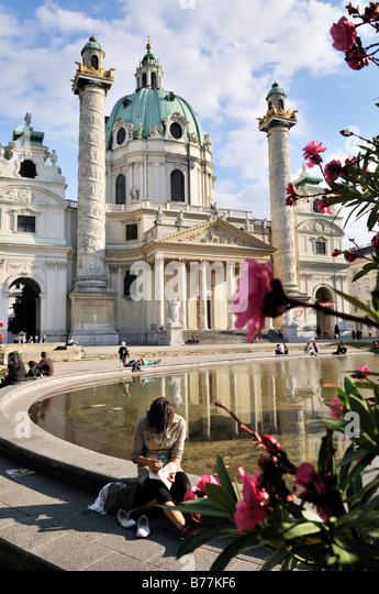 St. Charles's Church, Karlskirche, Vienna, Austria, Europe - Stock Image