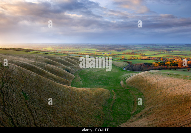 'The Manger' Uffington. Undulating hillside known as the 'Giant Stairs' - Stock-Bilder