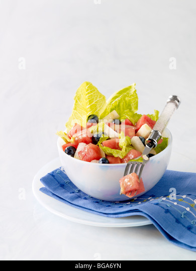Watermelon salad - Stock Image