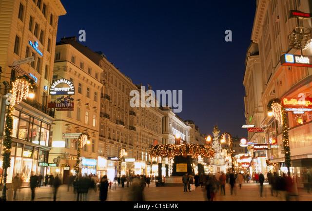 Nighttime Christmas street scene, Vienna, Austria, Europe - Stock Image