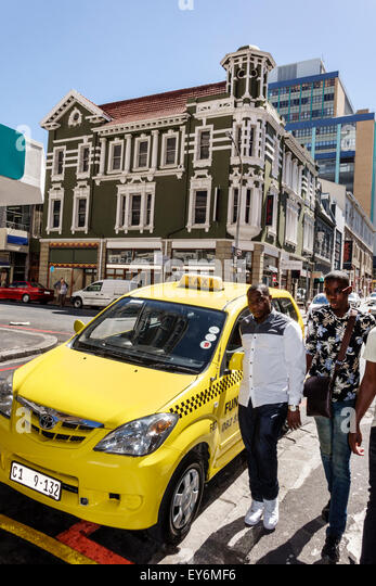 South Africa African Cape Town City Centre center Long Street taxi cab Black man resident - Stock Image