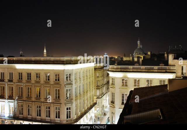 Rooftops at night, Bordeaux, France - Stock Image