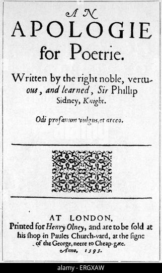 'Apology for Poetry' by Henry Sidney. 1595. Title page. HS: Lord deputy of Ireland, 1529 - 5 May 1586. - Stock Image
