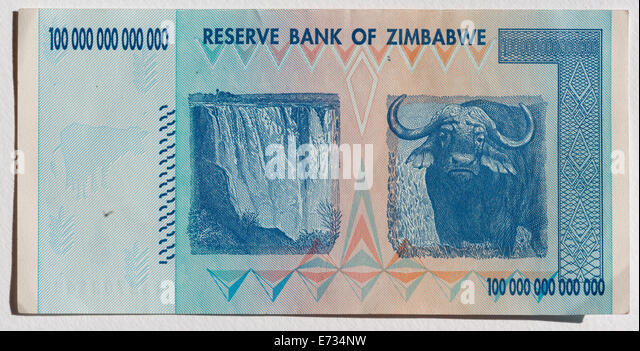 One hundred trillion Zimbabwe note - Stock Image