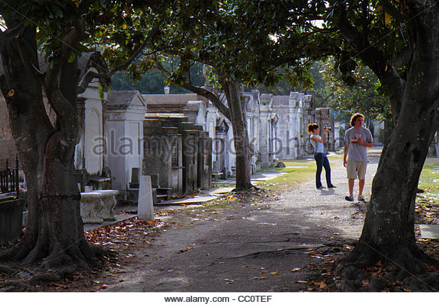 New Orleans Louisiana Garden District historic Lafayette Cemetery Number 1 landmark mausoleum death burial site - Stock Image
