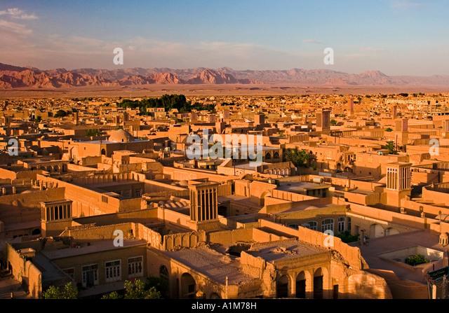 Panorama of Yazd with its windtowers, Yazd, Iran - Stock Image