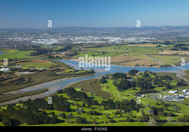 Pukaki Creek, and Aviation Country Club Golf Course, by Auckland Airport, Auckland, North Island, New Zealand - - Stock Image