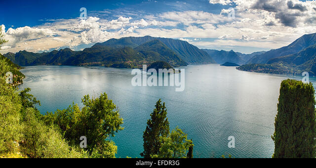High Angle Panoramic View of Lake Como Towards Bellagio and Lenno from Castle Vezio, Varenna, Lombardy, Italy - Stock Image