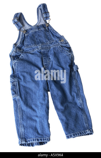 Childrens blue jean overalls - Stock Image