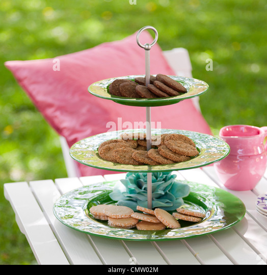 Cookies on plates - Stock-Bilder