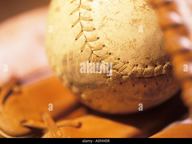 Baseball Glove and Baseball - Stock Image