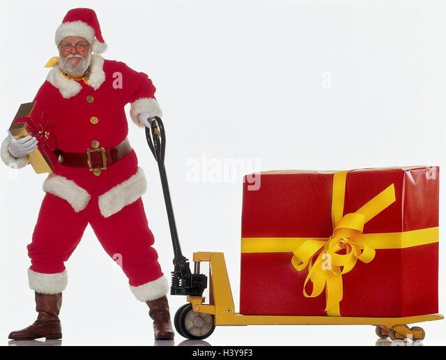 Santa Claus, elevating platform truck, package, present, drag X-mas, Christmas, Santa, glasses, smile, Christmas - Stock Image