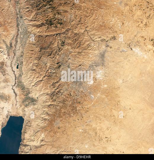 Natural-color satellite view of Amman, Jordan. - Stock Image