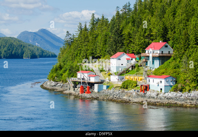 Boat Bluff Lightstation, Inside Passage, British Columbia, Canada - Stock Image