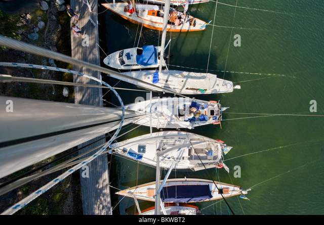 Small boats from above - Stock Image
