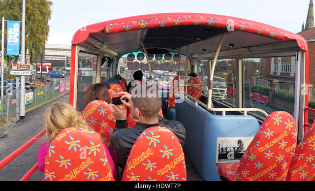 City Sightseeing bus,open top deck in Belfast, Ireland, UK - Stock Image