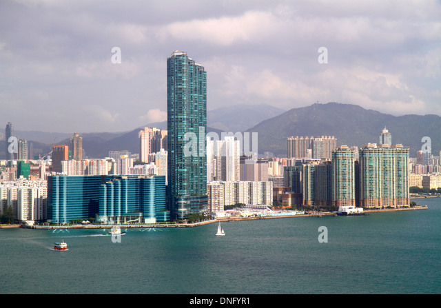 Hong Kong China Island Victoria Harbour Kowloon Bay view from North Point Kowloon Harbourfront Landmark Tower 1 - Stock Image